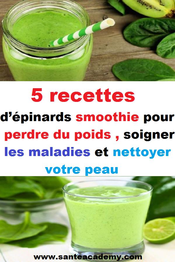 5 recettes de smoothies aux épinards pour perdre du poids et purifier votre peau