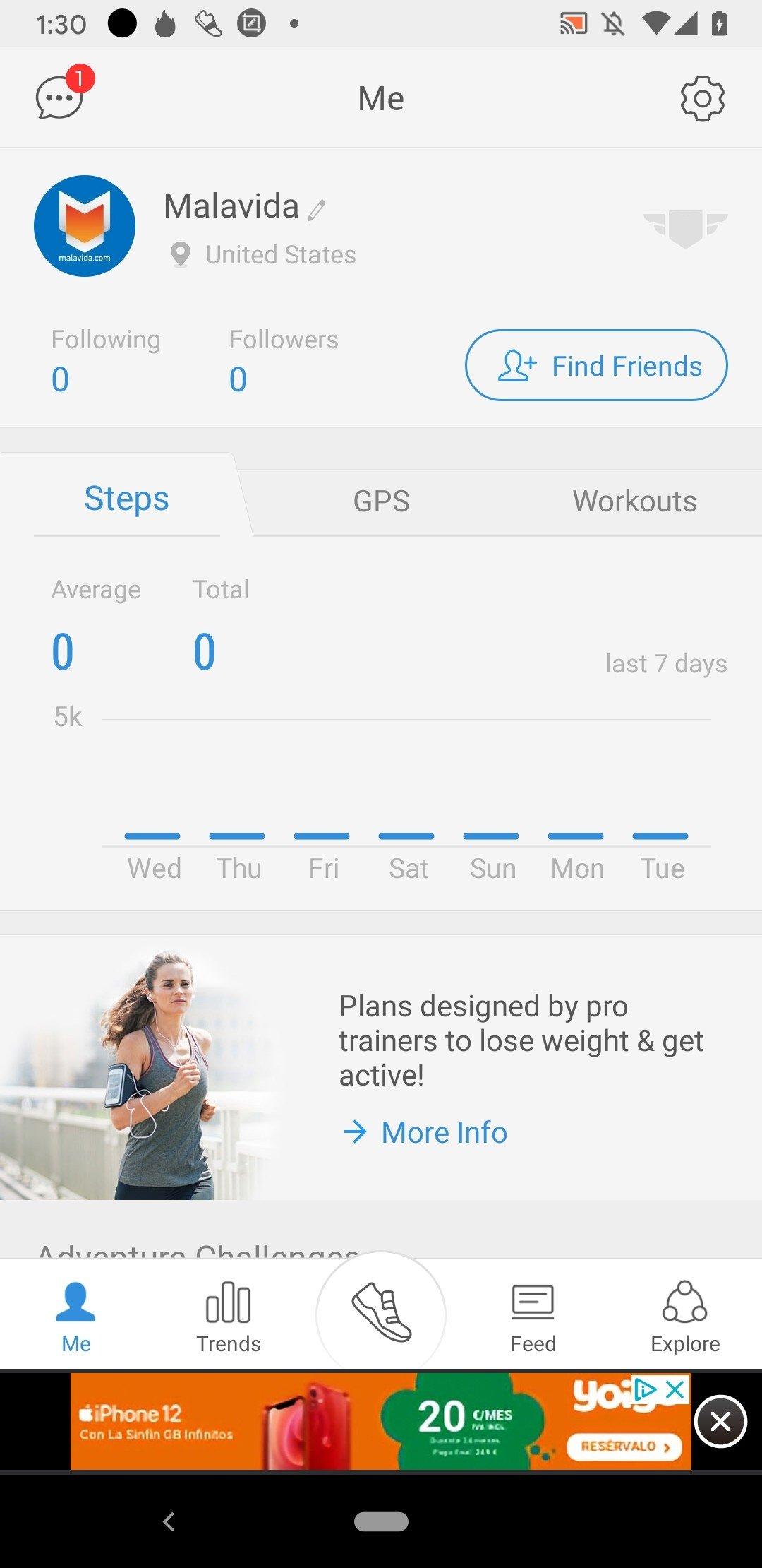 widget ticker de perte de poids android